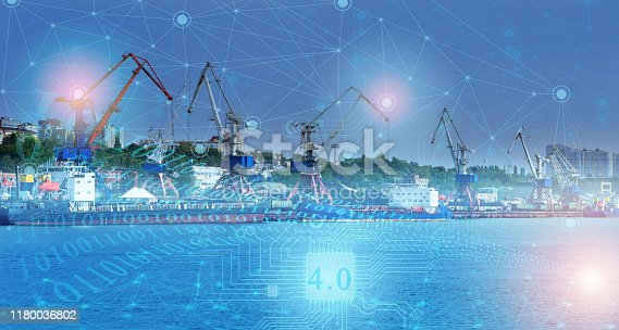 istock ship loading control using the Internet of things technologies, distribution of deliveries around the world in automatic mode. industry 4.0 in the future of mankind 1180036802