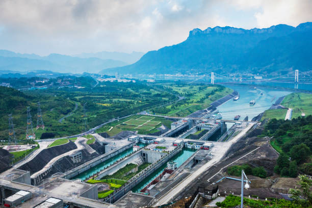 Ship Locks at Three Gorges Dam on the Yangtze River in Hubei Province, China