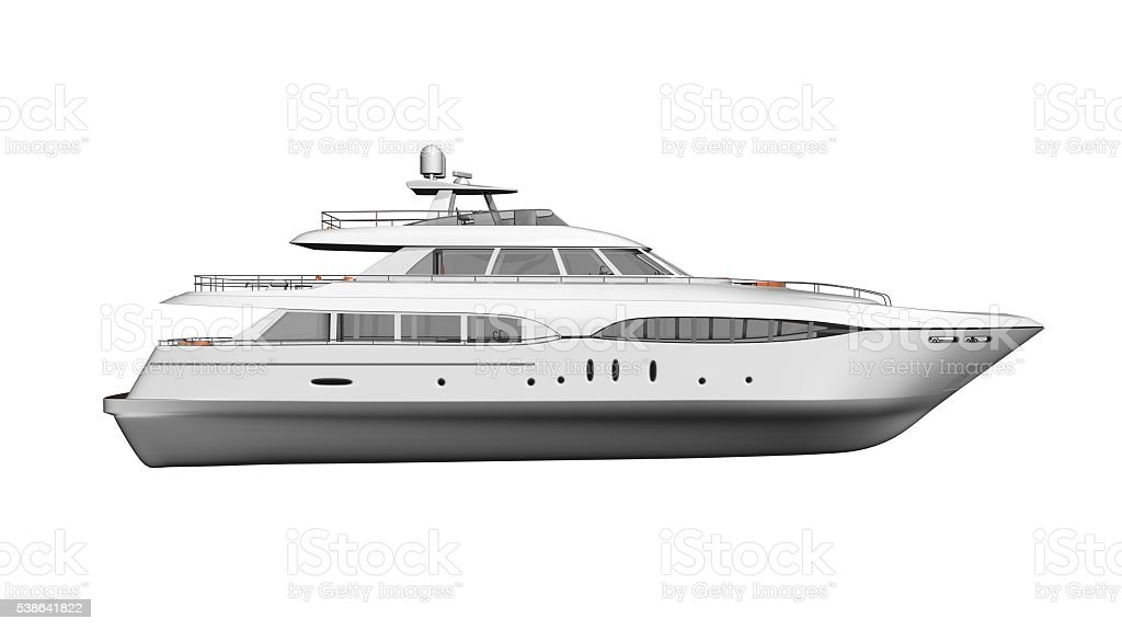 Ship, luxury boat, yacht, vessel isolated on white, side view stock photo