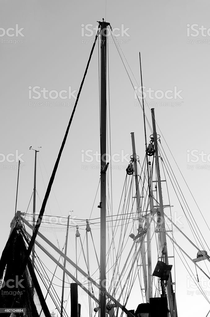 Ship Masts and Riggings in Black and White stock photo