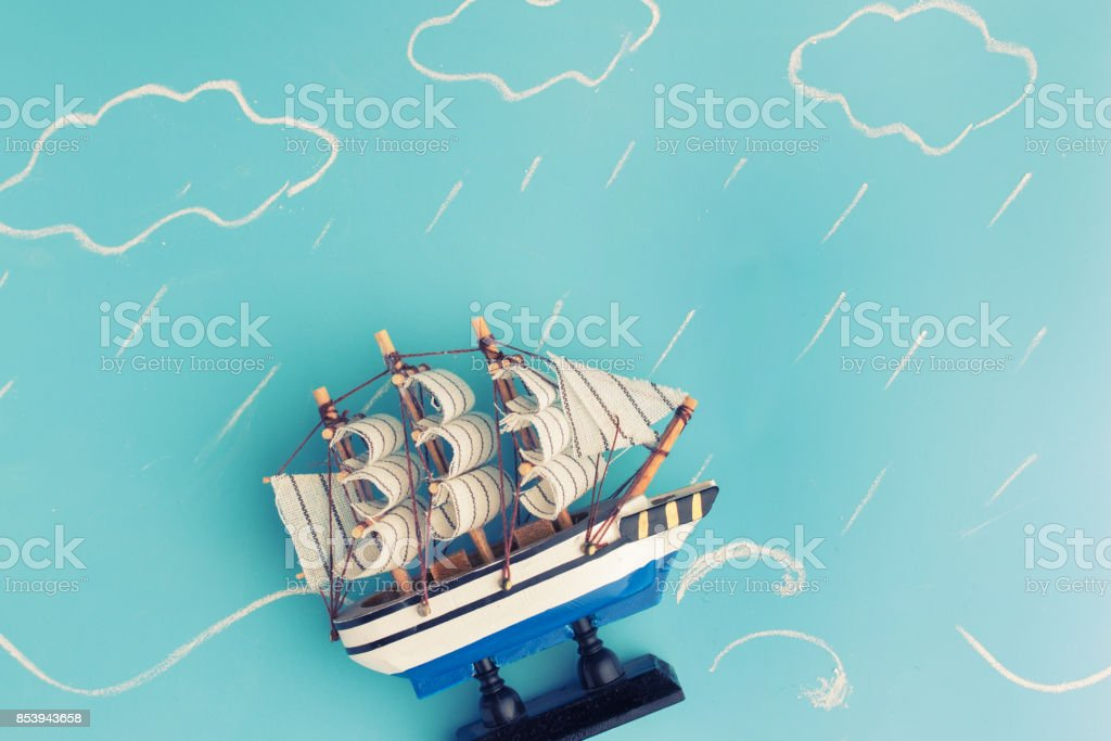 ship model in a storm stock photo