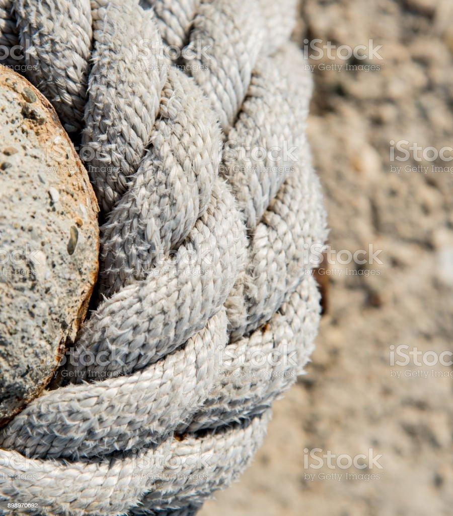 Ship mooring strong rope stock photo