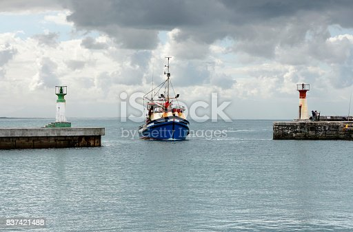 istock Ship nautical vessel sea harbour harbor moody clouds Kalk Bay 837421488