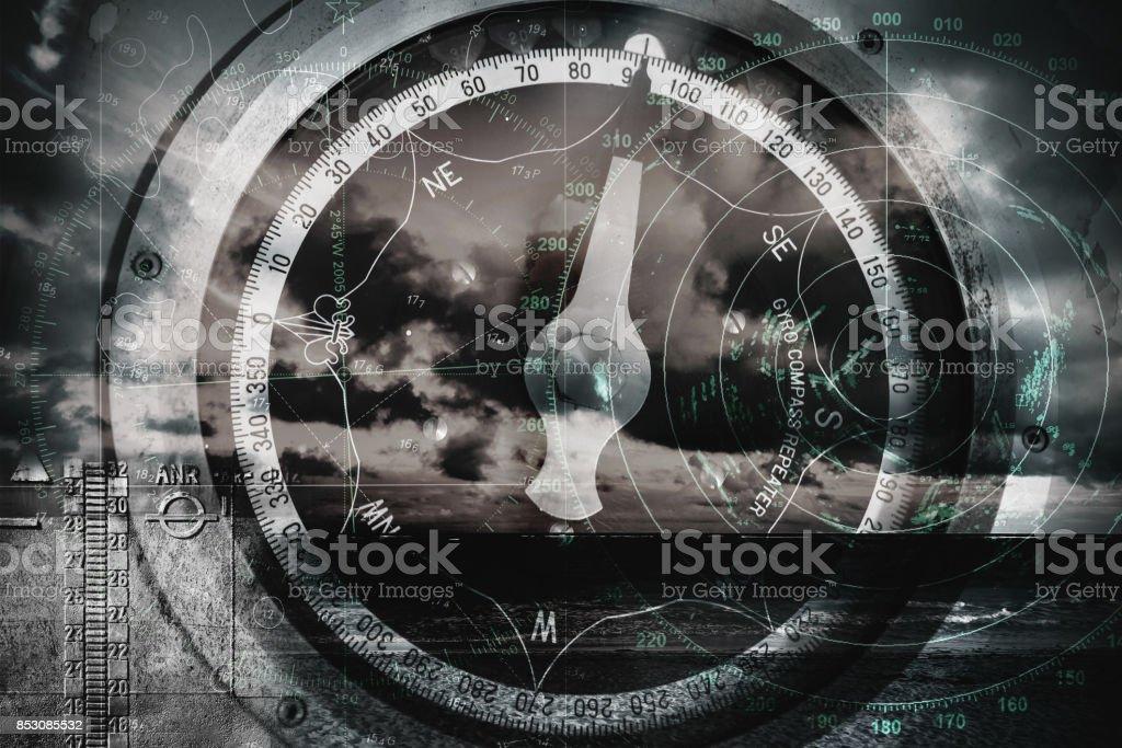 Ship navigation multi exposure background stock photo