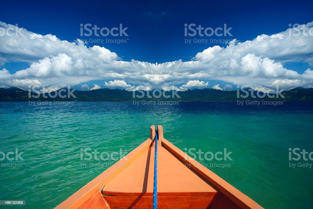 Ship nose front view in Gili Trawangan, Indonesia, Asia stock photo