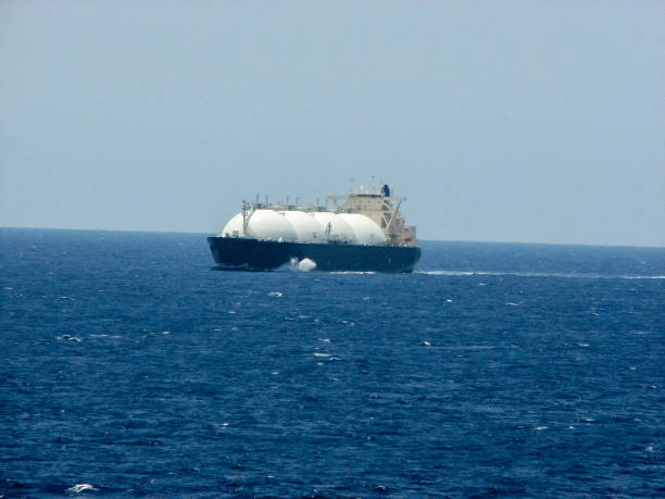 Ship of a gas carrier in the sea stock photo