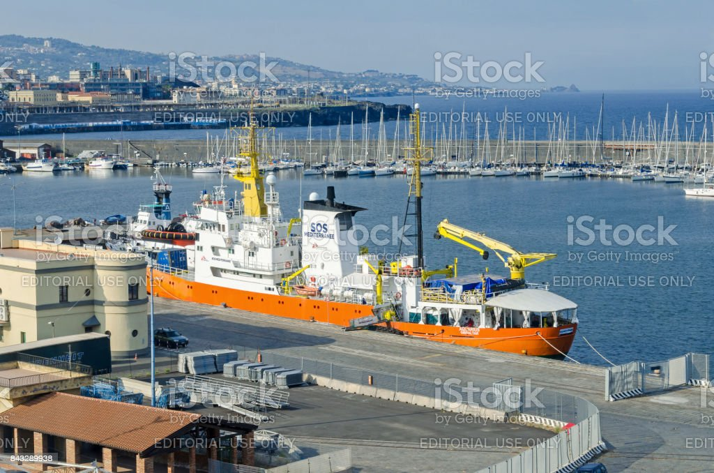 Ship of the Medecins Sans Frontieres anchored in Catania stock photo
