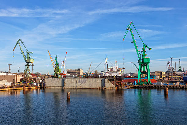 Ship on a dry dock stock photo