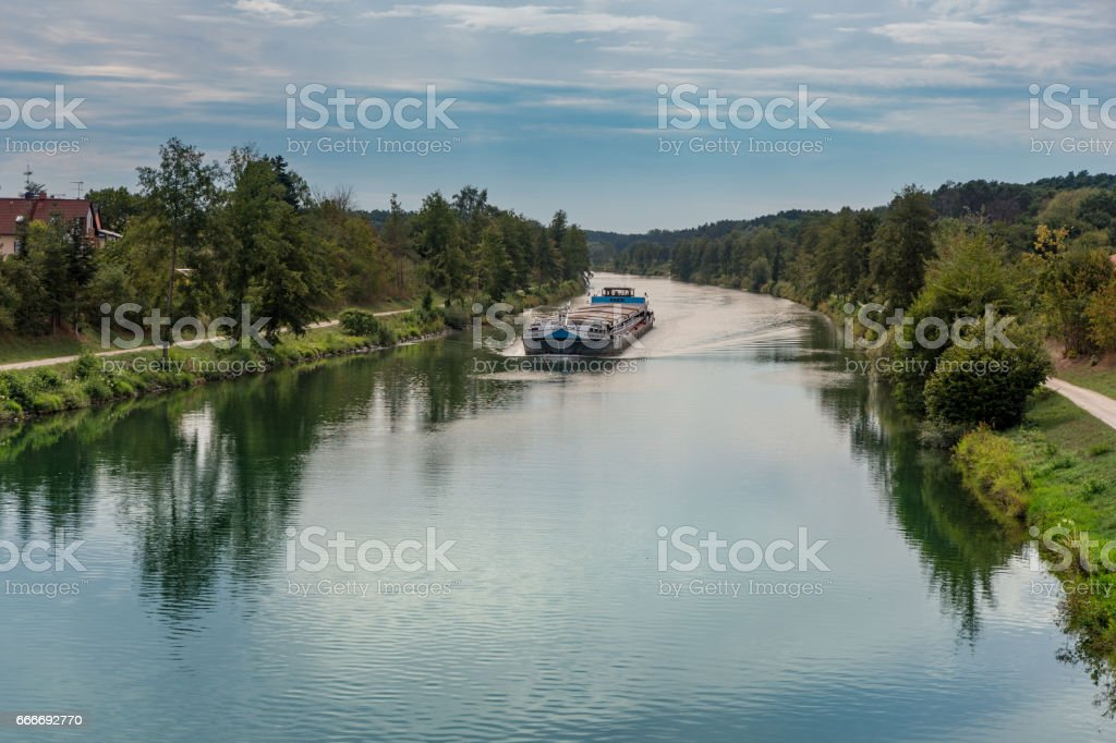 Ship on Canal in Bavaria stock photo