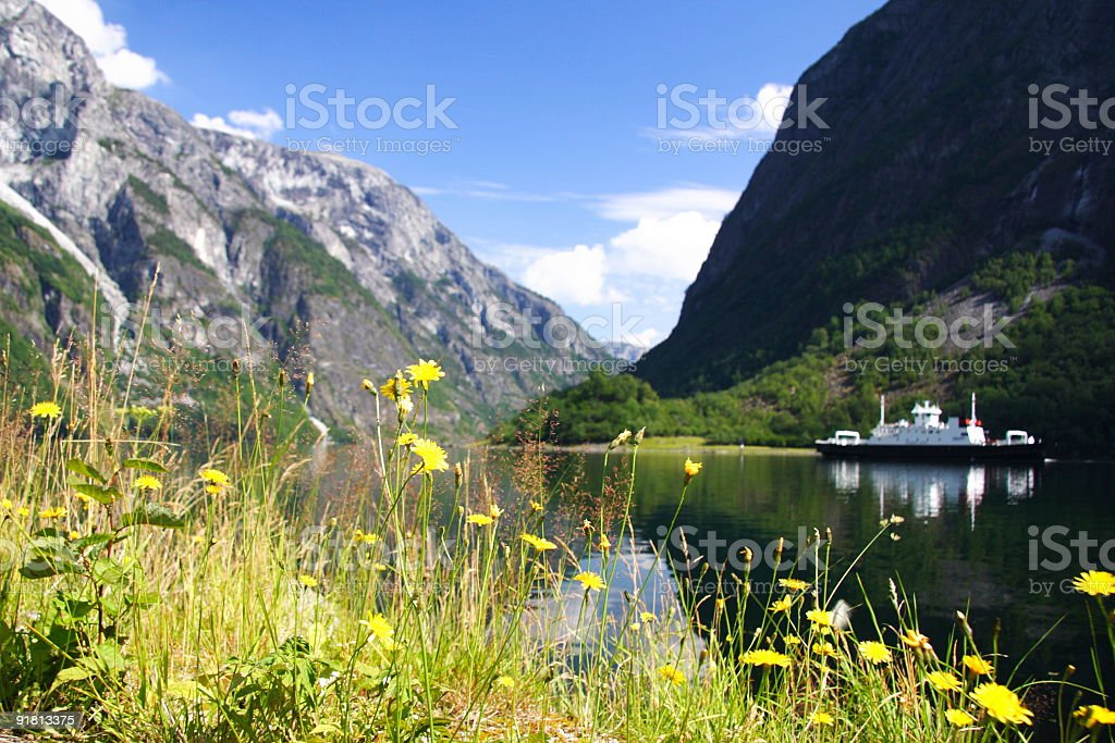 Ship on Fjord royalty-free stock photo