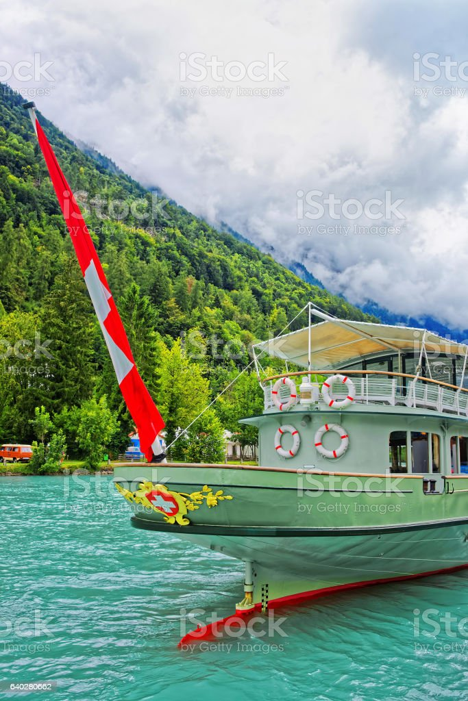 Ship on Lake Brienz and Brienzer Rothorn mountain Bern Switzerland stock photo