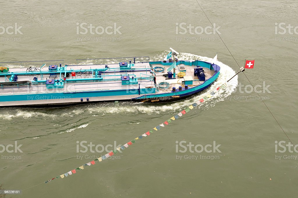 Ship on River Rhine in Basel Switzerland royalty-free stock photo