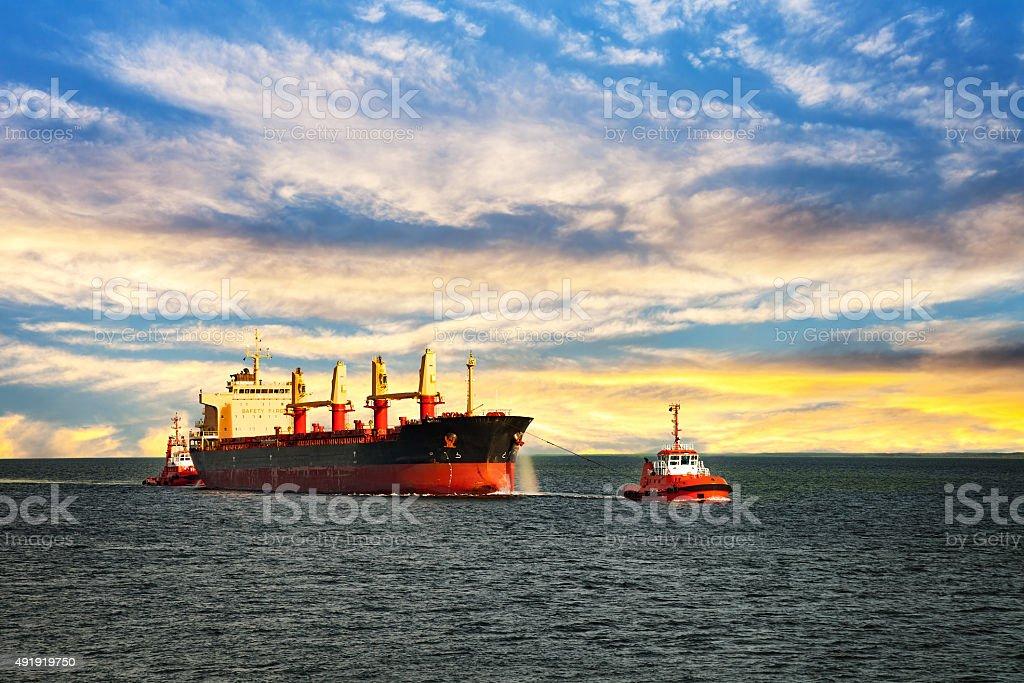 Ship on sea stock photo
