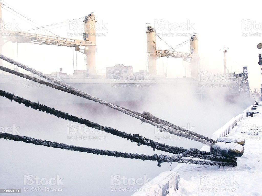 Ship on the Frosted Sea stock photo