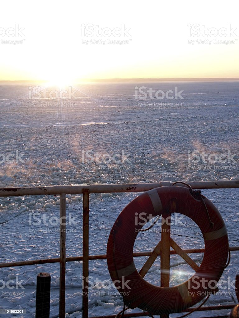 Ship on the Frosted Sea - pulpit and life ring stock photo