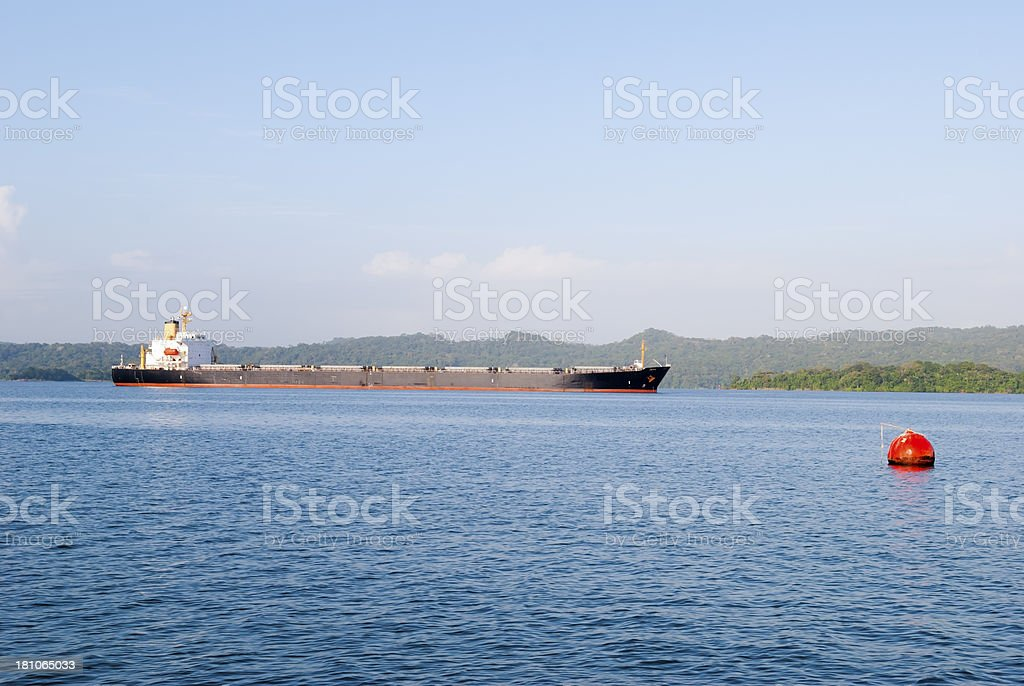 Ship on the Panama Canal royalty-free stock photo