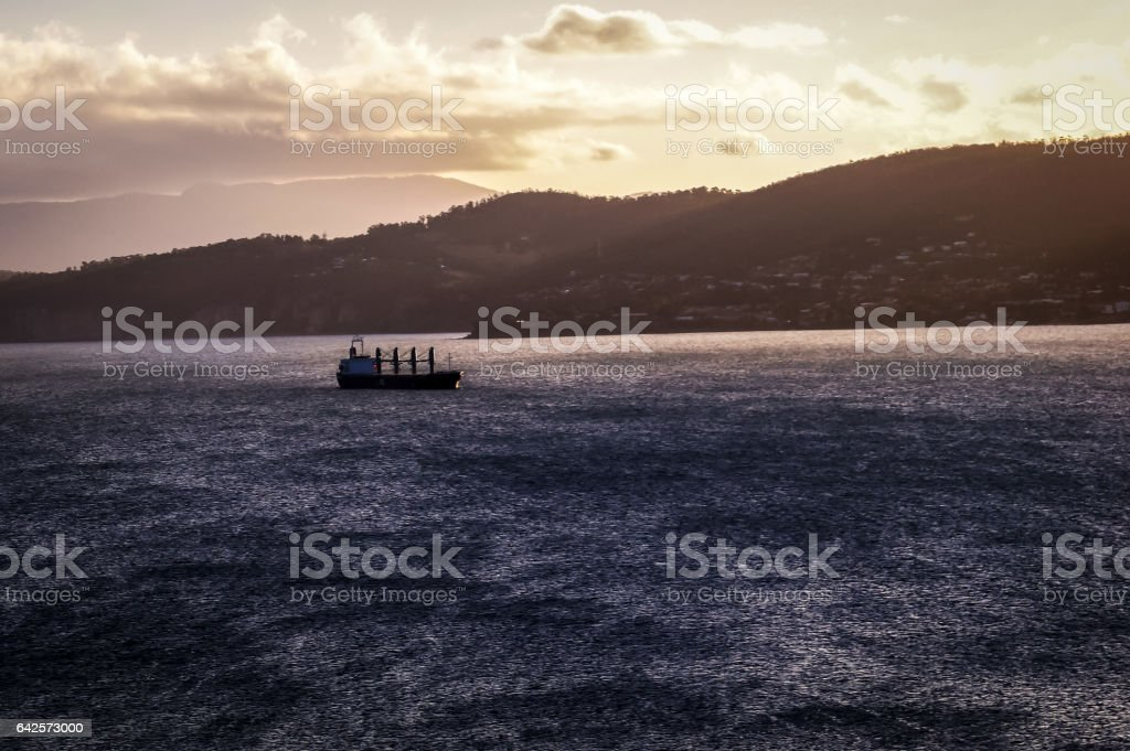 Ship on the River Derwent in Hobart, Tasmania at sunset stock photo