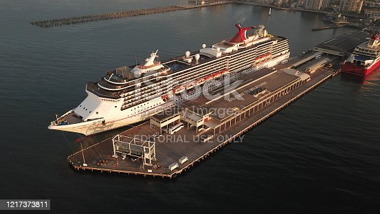 Melbourne, Australia - February 6th 2019. Carnival Legend, a Spirit class cruise ship operated by Carnival Cruise Line, docked at Station Pier in Port Melbourne.