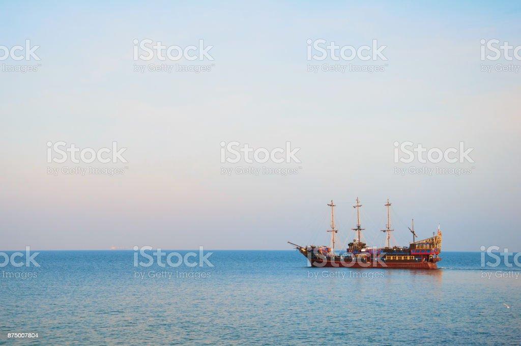 Ship on the sea stock photo
