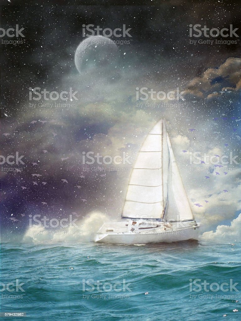 ship on the waves stock photo