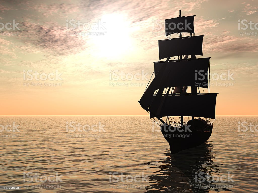 Ship out at sea early morning. stock photo