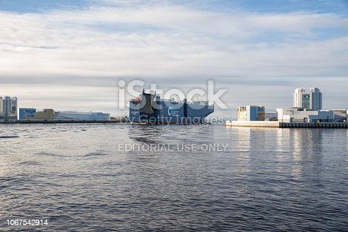 St. Petersburg, Russia - November 04, 2018: largest vehicles carrier AUTO ENERGY leaves the port of St. Petersburg and passes through  S-1 navigation pass of Saint Petersburg Dam