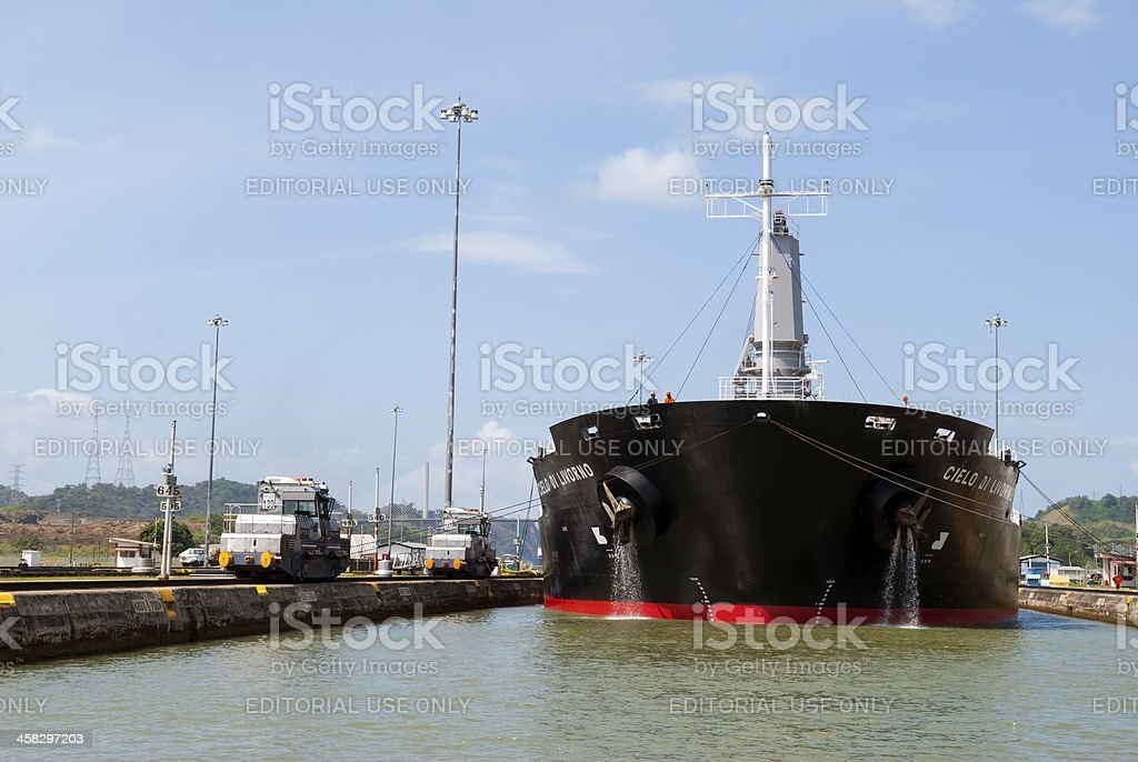 Ship passing through the Panama Canal stock photo