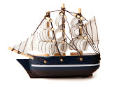 Toy ship on a white background