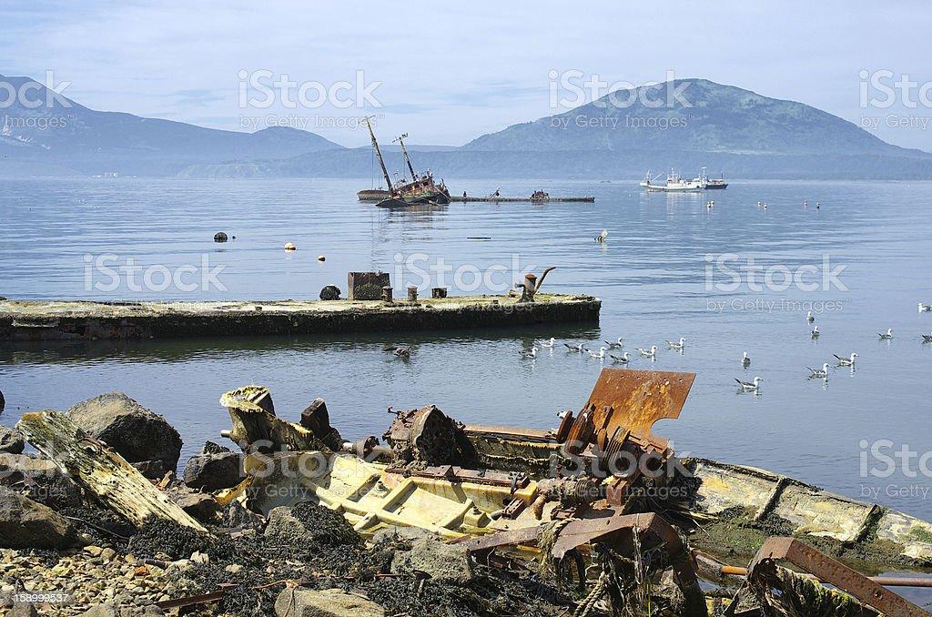 Ship pier ruined stock photo