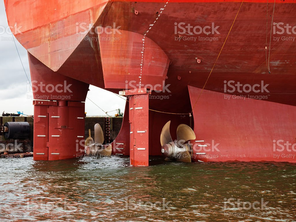 Ship Propeller in water stock photo