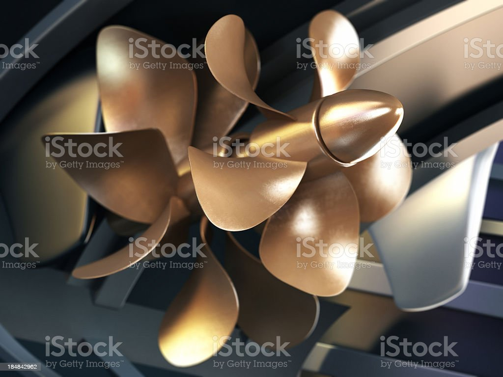 Ship propeller stock photo