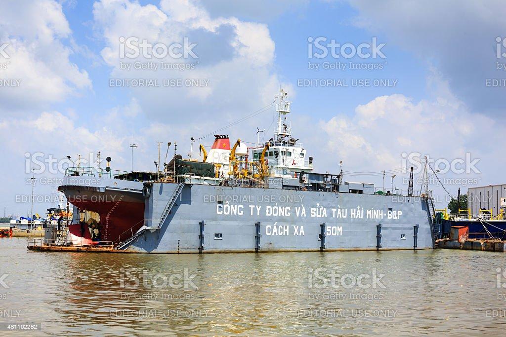 Ho Chi Minh City, Vietnam - June 27, 2015 - a ship repair factory is...