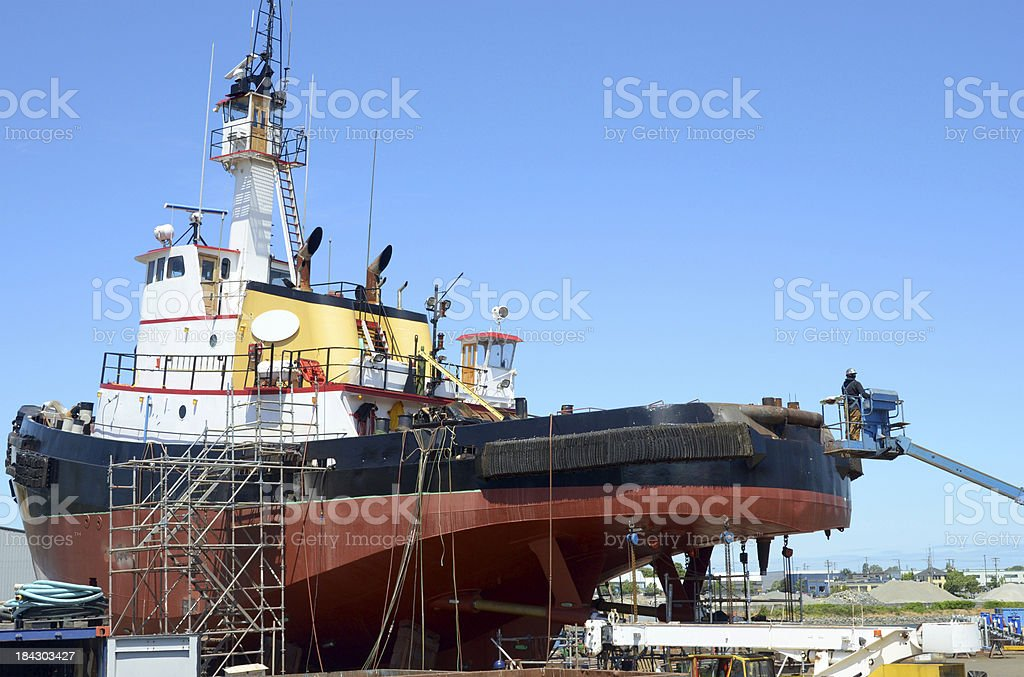 Ship Repair / Refit in a Victoria Shipyard stock photo