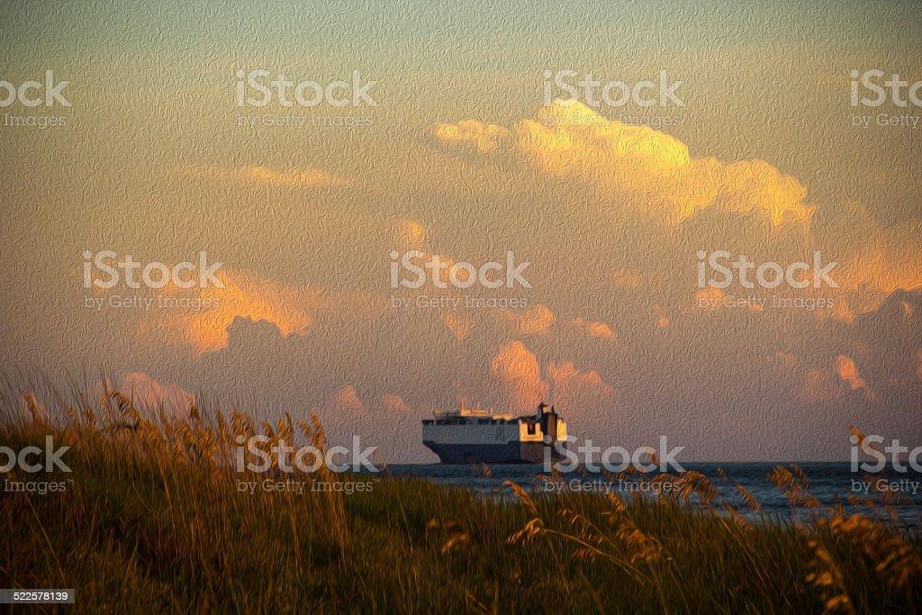 Ship Returning to Sea stock photo