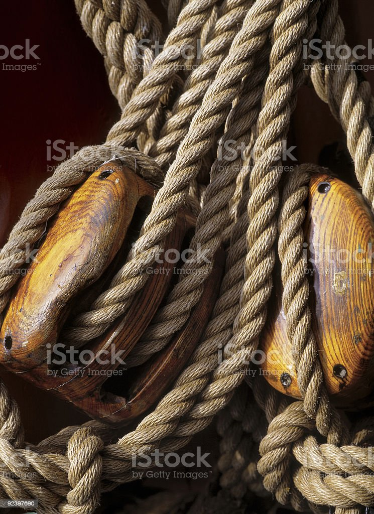 Ship ropes stock photo