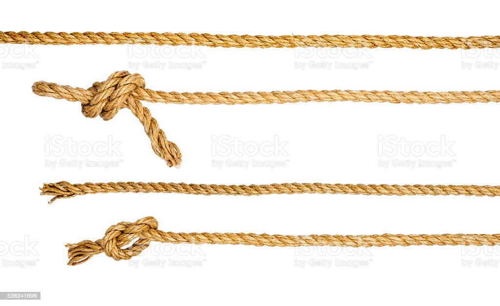 Ship ropes with knot isolated on white background stock photo