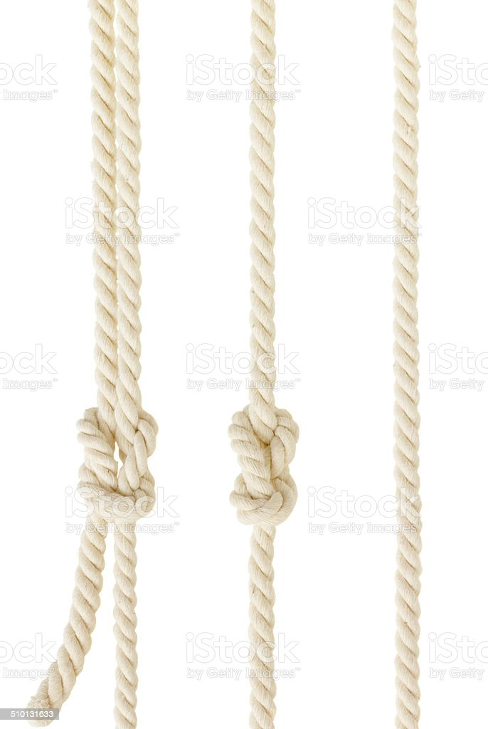 ship ropes with knot isolated stock photo