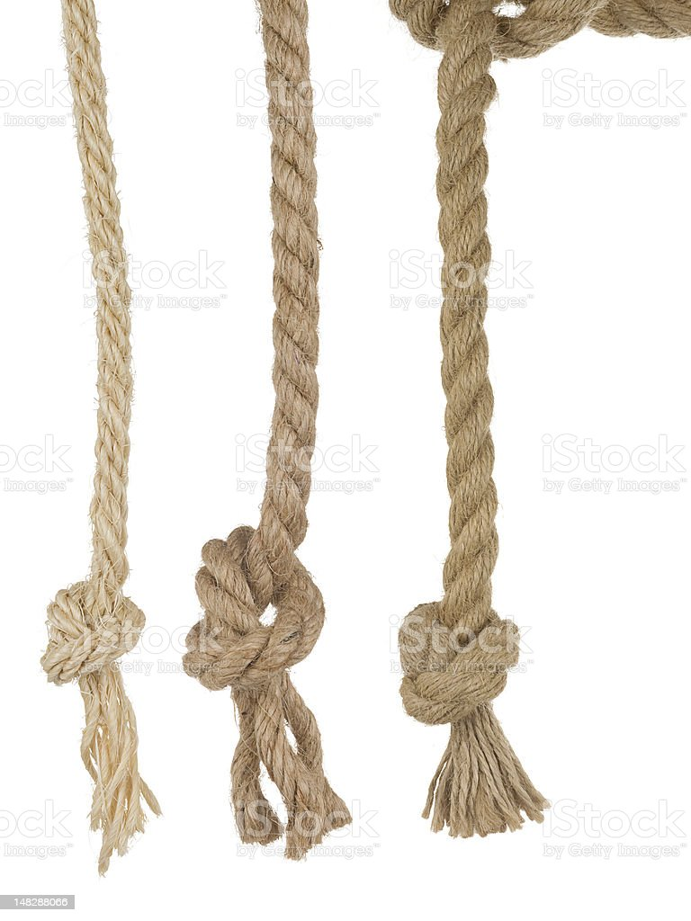 ship ropes with knot on white stock photo