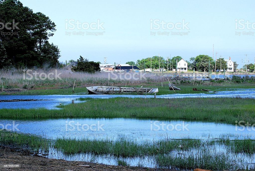 Ship ruins in Eastern Shore stock photo