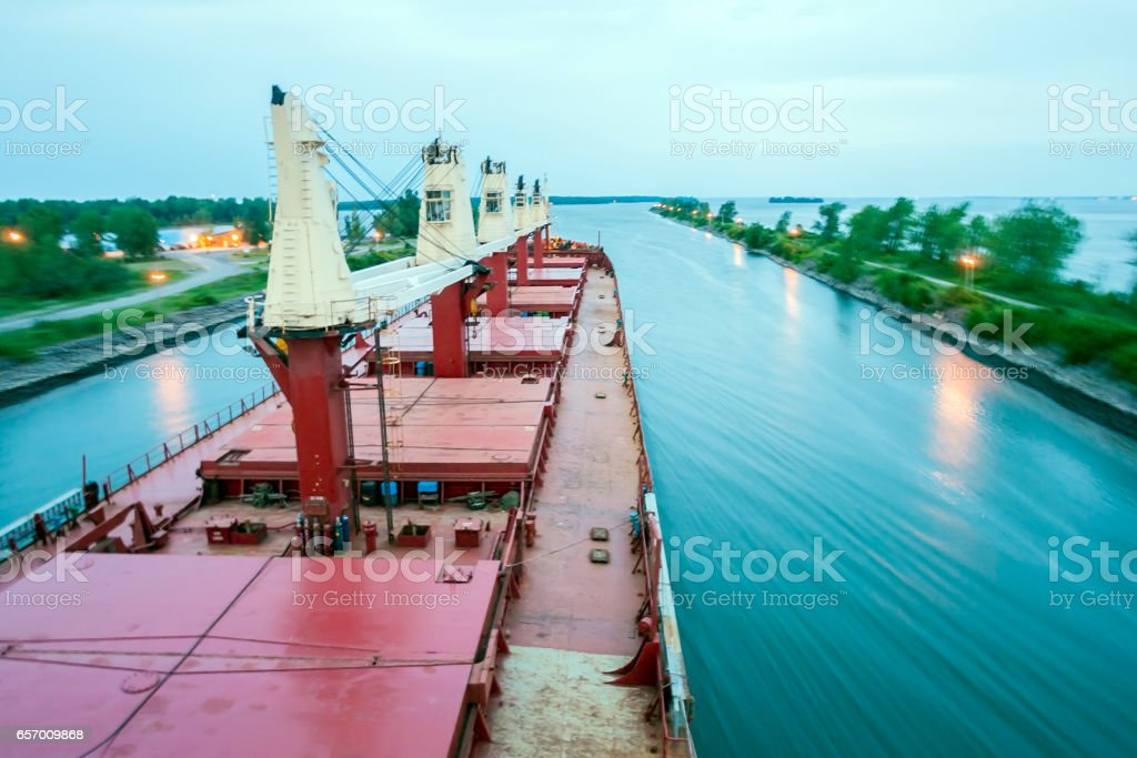 Ship Sailing Detroit Canal in Usa - Passing canal stock photo