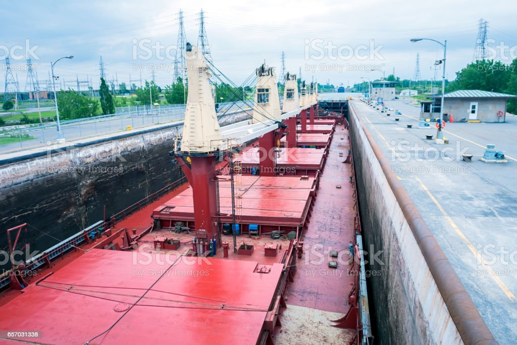 Ship Sailing Detroit Canal in Usa - Passing Lock stock photo