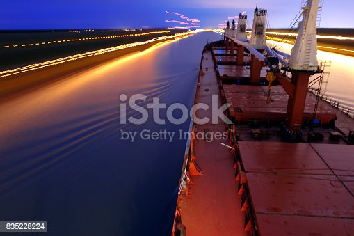 Ship Sailing Detroit Canal in Usa