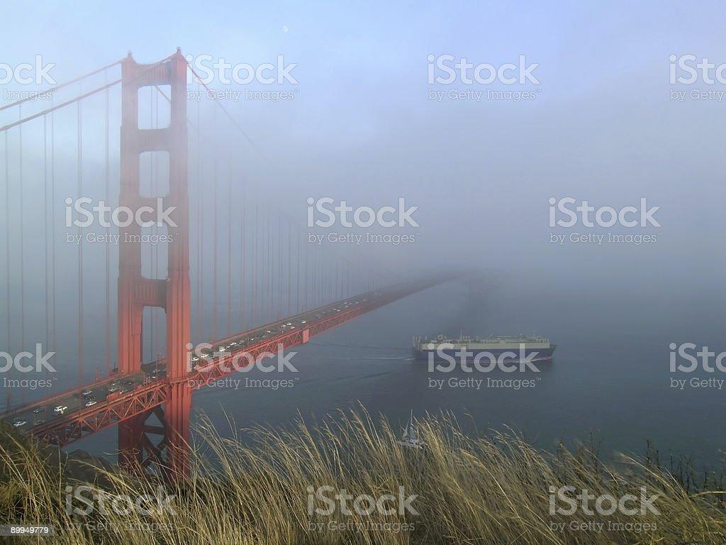 Ship sailing under Golden Gate royalty-free stock photo
