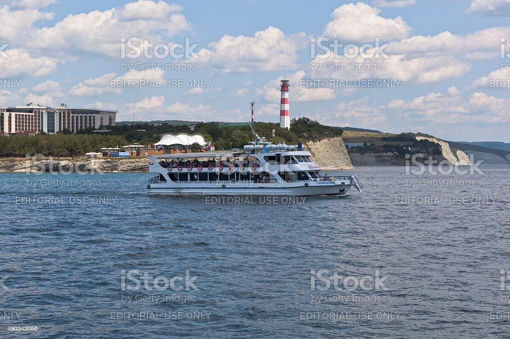 Ship 'Salamander' comes up from Gelendzhik Bay in Black Sea stock photo