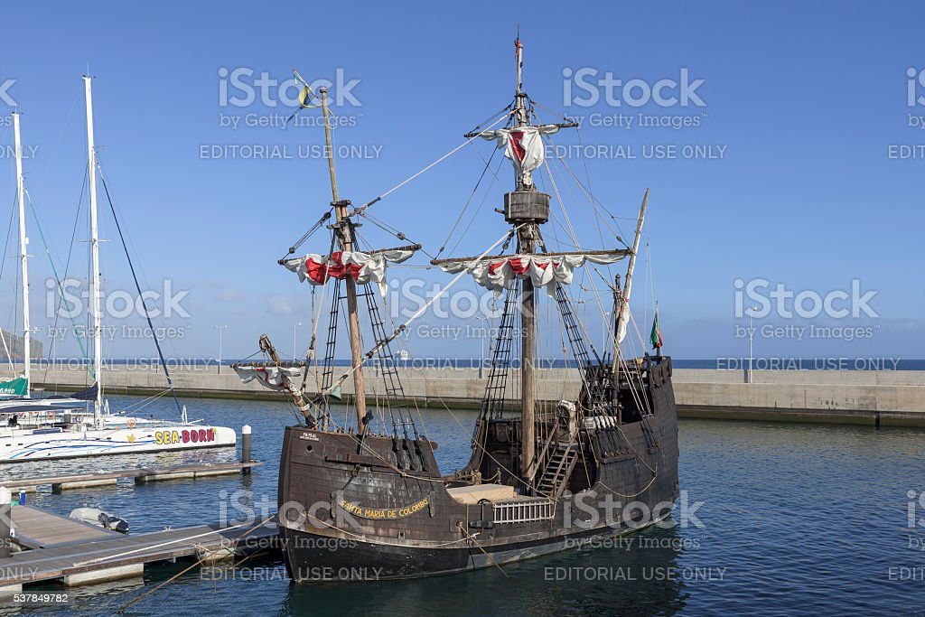 Ship Santa Maria de Colombo at Funchal harbor, Madeira stock photo