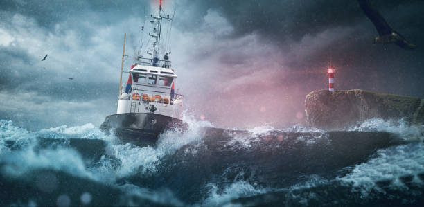 Ship sea lighthouse storm Ship sea lighthouse storm storm stock pictures, royalty-free photos & images