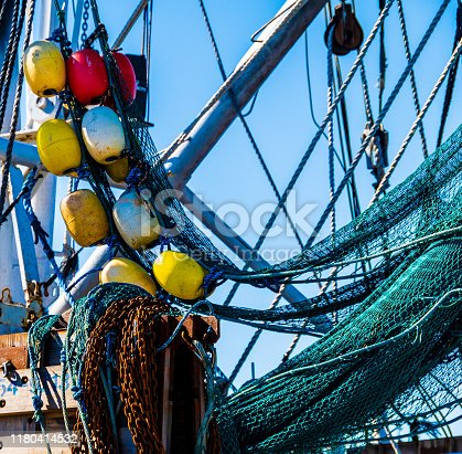 Shrimp Boat Buoys and nets with leading lines
