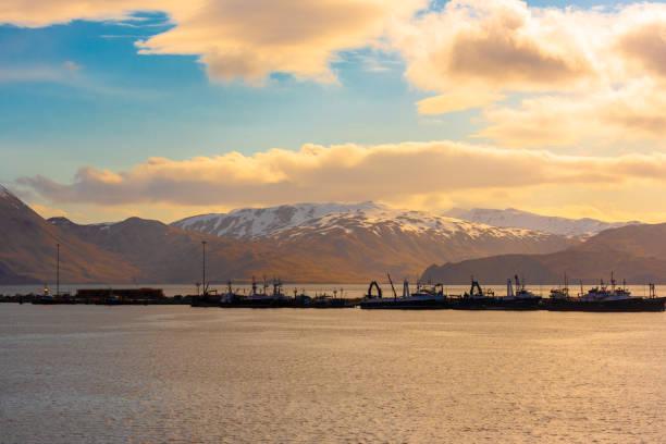 Schiffssilhouetten im Hafen – Foto