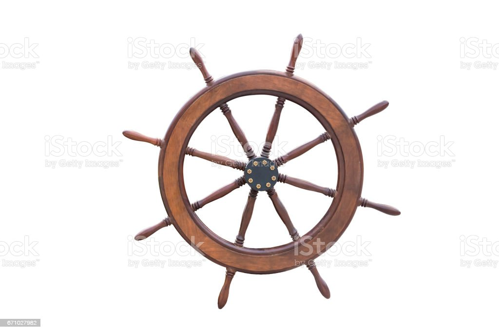 Ship steering wheel isolated on white background with clipping path. stock photo