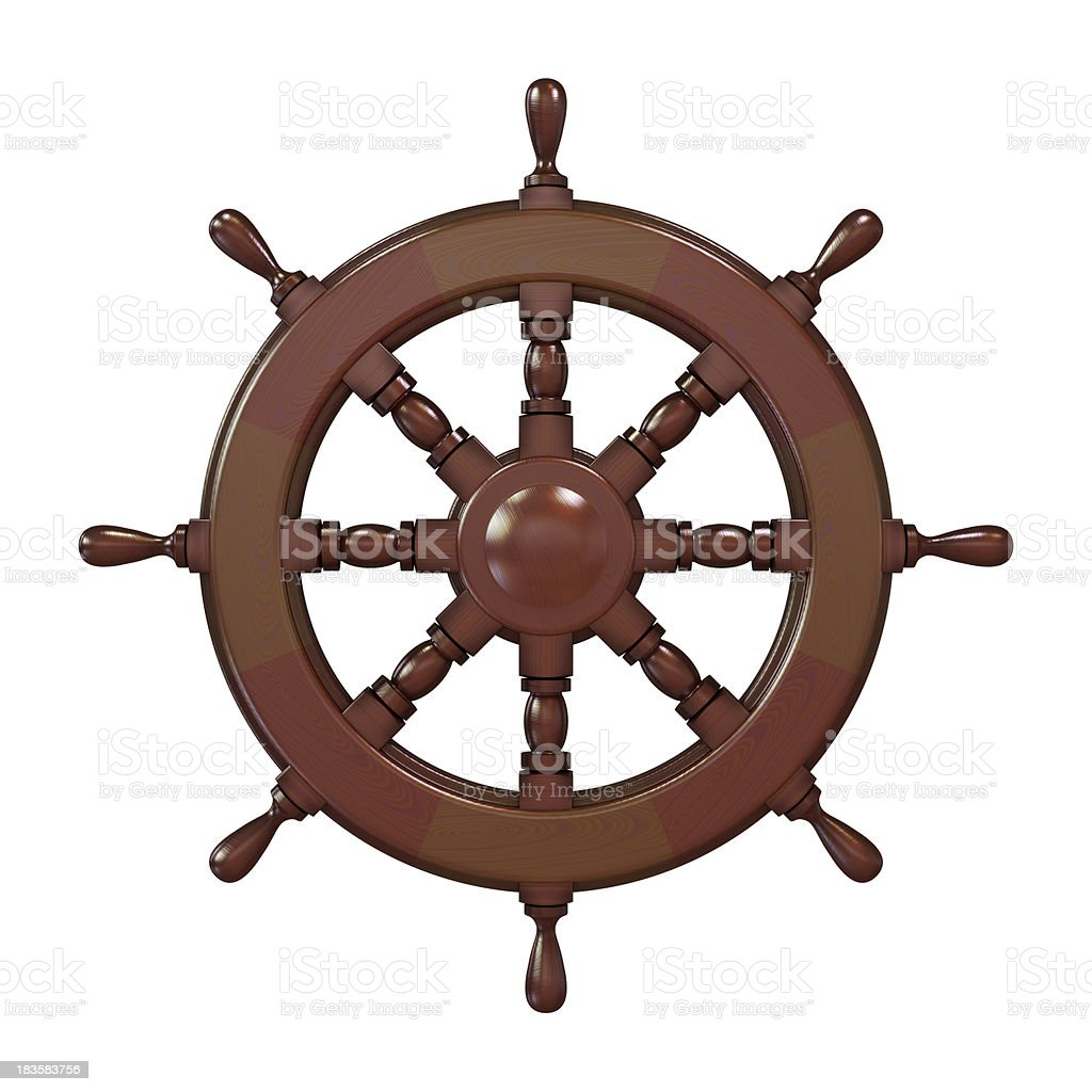 Ship steering wheel royalty-free stock photo